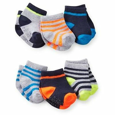 New Carter's 6 Pack Socks 0-3m NWT Solid and Stripes Heal Toe Different colors
