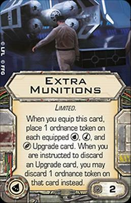 X-Wing Miniatures Extra Munitions card + tokens - Torpedo Single Upgrade Card