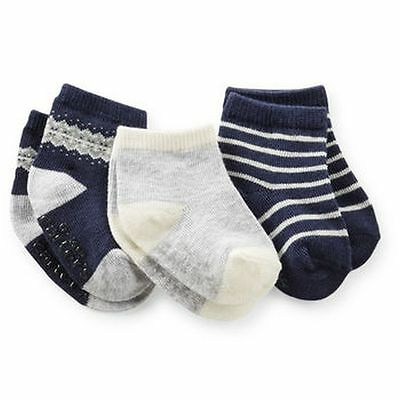 New Carter's 3 Pack Socks 3-12m NWT Forest Friends Fair Isle Navy Blue Gray