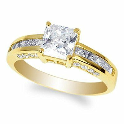 Solid 14k Yellow Gold 1.5 ct Princess cut Engagement Ring Size 5 6 7 8 9 10