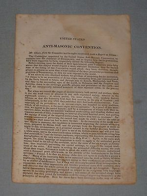 1830 Anti-Masonic Convention Pamphlet Comments Of Mr. Oliver