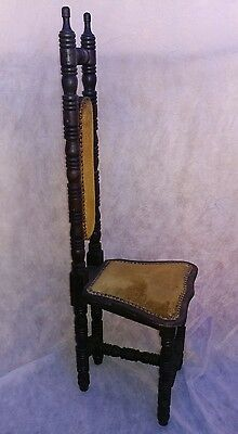 Antique tall skinny back chair Gothic medieval