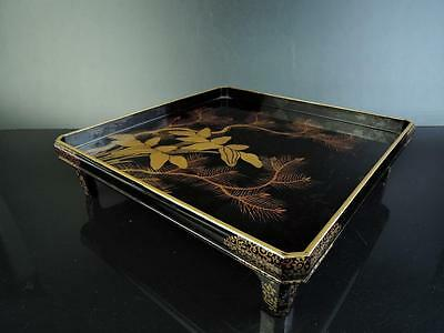 E5951:Japanese WOODEN TRAY/plate Lacquer ware Flower Pine gold lacquer pattern