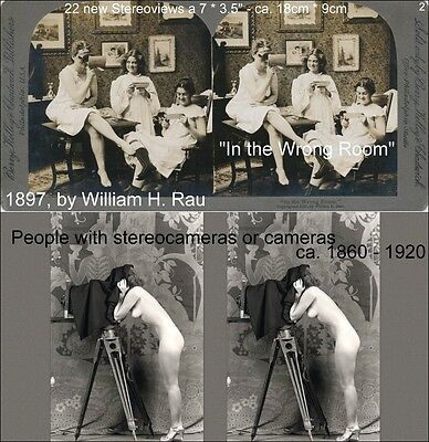 22 STEREOVIEWS People whit Stereoscope - Viewer or Camera, Lot 2