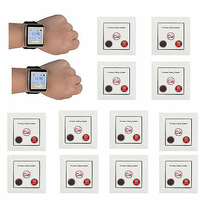 2X Restaurant Wireless Calling Paging System Watch Receive+Call Button Pager New