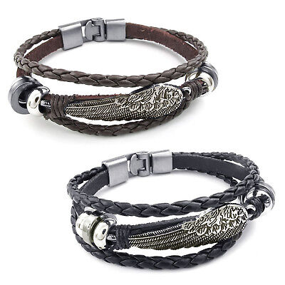 MENDINO Men's Alloy Leather Braided Woven Angel Wing Feather Cord Rope Bracelet
