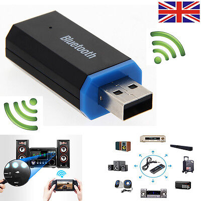 Bluetooth Wireless Audio Transmitter Adapter 3.5mm USB Car AUX Stereo Receiver