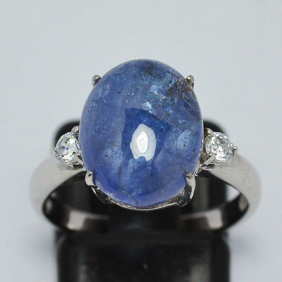 Introvabile  Anello  In Argento Massiccio Tanzanite  Cabochon Naturale