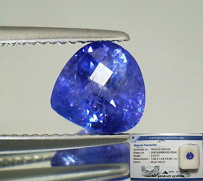 Tanzanite  Naturale Goccia In Blister Ct. 2,04  Intrattata  Brillante
