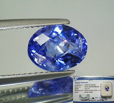 Tanzanite  Naturale Ovale  In Blister Ct. 2,21 Intrattata  Brillante