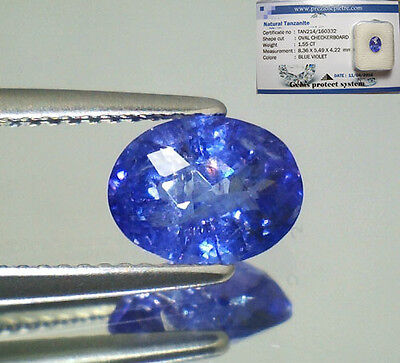 Tanzanite  Naturale Ovale  In Blister Ct. 1,55 Intrattata  Brillante