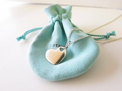 """Tiffany & Co. Sterling Silver Double Stencil Heart 16"""" Necklace w/ Pouch"""