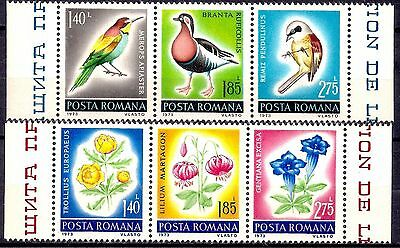 Romania 1973 Birds Wild Flowers Plants Nature Lily Gentian Conservation MNH/2