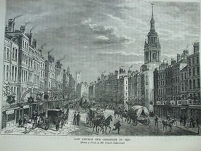 Antique Print C1875 Bow Church And Cheapside In 1750 Engraving London Old & New