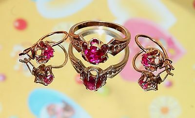 Ruby Soviet USSR Vintage EARRINGS Ring SILVER Gold plated 925 USSR Antique