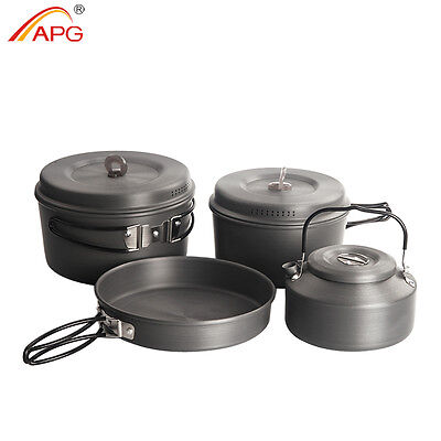 Outdoor Camping Cookware Hiking Portable Cooking Kit Kettle Pot and Pan Set APG