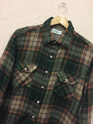 VINTAGE BROWN GREEN PLAID SHIRT WOOL ST JOHNS BAY 90's (F225) SIZE L LARGE