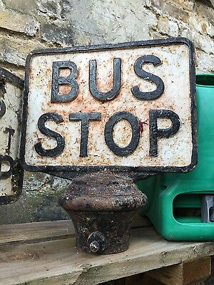 old antique vintage bus stop sign