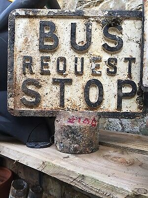 very old antique vintage bus request stop sign