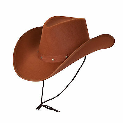 Adult Texan Cowboy Hat Brown Fancy Dress Party Accessory Country Western Rancher