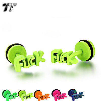 TT Fluorescence Stainless Steel Fake Ear Plug Earrings (BE203) NEW