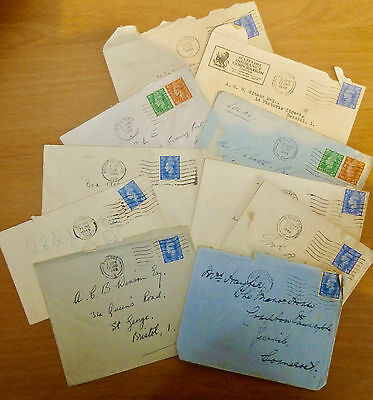 GREAT BRITAIN - 10 envelopes with stamps from the 1940's- a piece of history