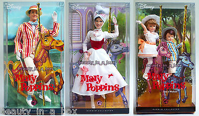 Mary Poppins Bert Jane & Michael Barbie Doll Collector Disney Lot 3 VG