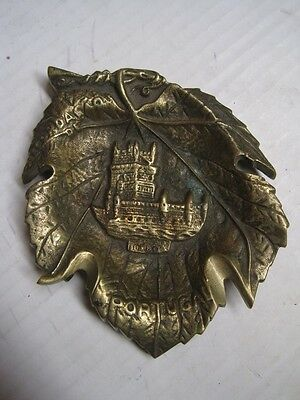 Antique ashtray bronze leaf-shaped with Tower Belem Portugal