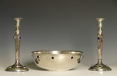 Lovely Art Nouveau Bowl and Matching Candlesticks with faux jewels Arts & Crafts