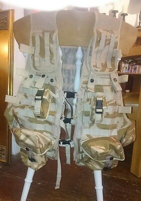 NEW - British Army Desert Issue - MOLLE Tactical Ops Vest With 8 Pouches