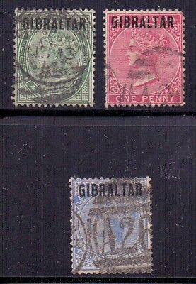 Gibraltar. 3 used Contemporary types of Bermuda with Gibraltar overprint. 1886.