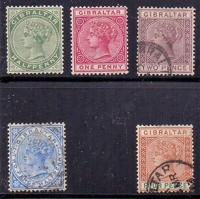Gibraltar. 2 LH mint and 3 used QV stamps issued 1886/87. Catalogue £190