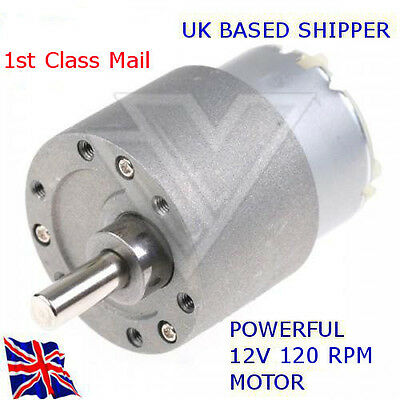 12v REVERSABLE - DC Motor 120 RPM - 37mm High Torque Gear Box - Available in UK