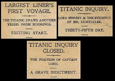 3 x pdf's scanned newspaper reports1912 White Star Line RMS Titanic