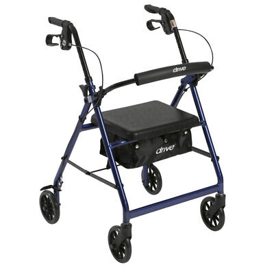 """Drive Medical Rollator Rolling Walker with 6"""" Wheels, Fold Up Removable Back"""