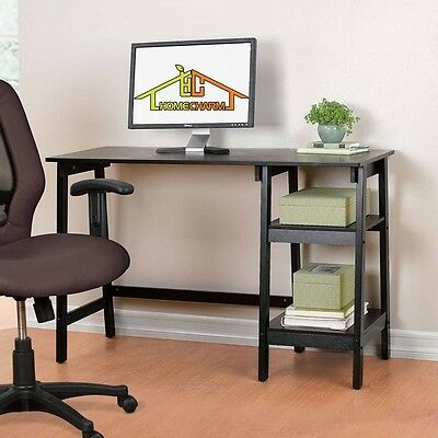 Home Office Computer Desk Table Home Student Study w/2 Storage Shelves,Black