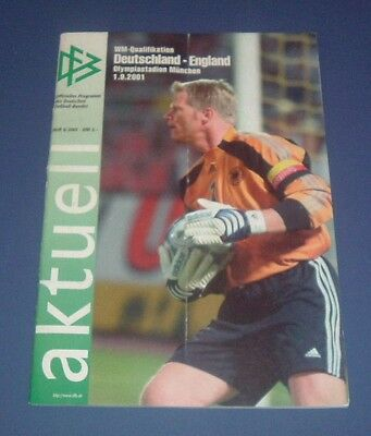 GERMANY (1) vs ENGLAND (5) WC Qualifier 2001 Programme