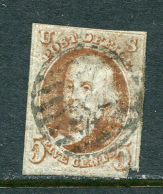 US Lot 2887 US Postage 1847 Scott A1 1 5 Cents Red Brown scarf to top of F in Fi