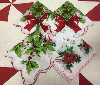 Lot Of 4 Vintage Christmas Handkerchiefs