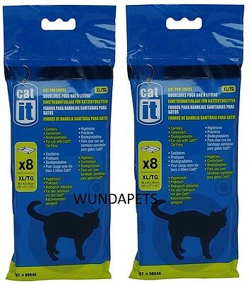 Catit Cat  Pan Litter Tray Liner Extra Large  Xl 2 X 8 Pack Biodegradable 50546