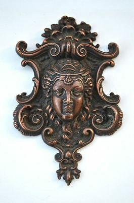 Original antique copper decorative cartouche Eastern Goddess ormolu mount 2