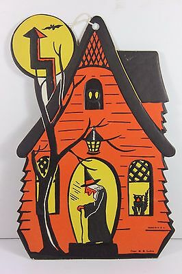Vintage HAUNTED HOUSE Embossed Halloween Decoration H.E. Luhrs Witch Black Cat