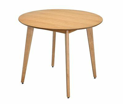 ASPECT Malmo 4 Seater Round Dining Table Oak Finish Table, Wood
