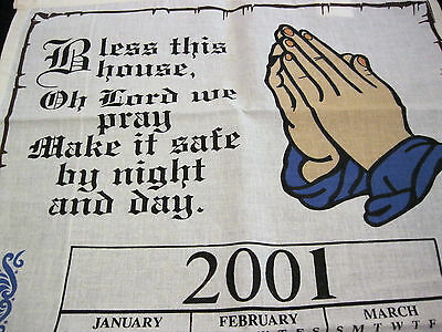 Calendar Towel 2001 Praying Hands House Blessing Design 100% Cotton UNUSED