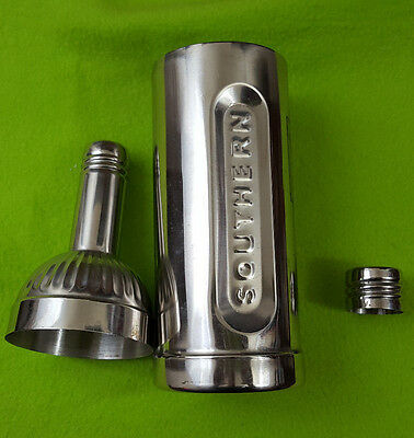 Stainless Southern Comfort Cocktail Shaker Bottle Shaped Barware Man Cave