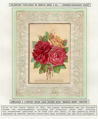 Victorian Embossed Pierced Paper Lace Valentine Chromo Roses by Marcus Ward