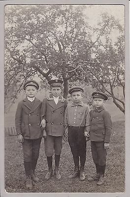 Interesting Antique RPPC - Group Of Little Boys In Caps - Hindenburg Airship