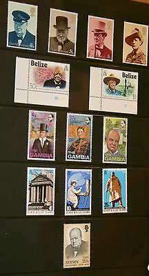 Sir Winston Churchill - Stamps - Belize, The Gambia, Jersey,Gilbert & Ellice + 4