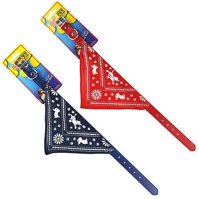 Red or Blue Adjustable Pet Puppy Dog Collar with Bandana Neckerchief 3 Sizes UK