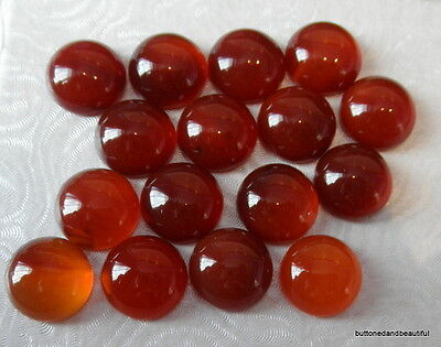 2 x Red carnelian domed gemstone cabochons round 12mm diameter flat back